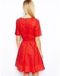Oasis - Red Crochet Lace Dress - Lyst