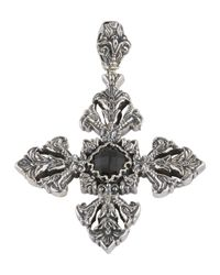 Konstantino | Black Silver & Onyx Filigree Cross Pendant Enhancer | Lyst