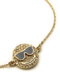 Juicy Couture | Metallic Pave Smiley Face With Sunglasses Wish Bracelet | Lyst