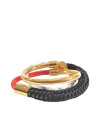 Marni Black Triple Wrap Cord And Metal Bracelet