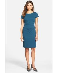 Lafayette 148 New York | Blue Side Pleat Cap Sleeve Ponte Knit Sheath Dress | Lyst