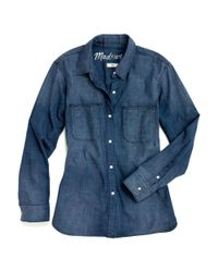 Madewell Blue Perfect Chambray Exboyfriend Shirt in Harvest Wash