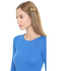 Dauphines of New York - Metallic Adorned Hair Clip Set - Gold/Clear - Lyst