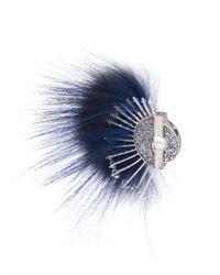 Fendi - Blue Fur and Crystal Brooch - Lyst