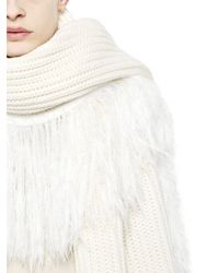 J.W.Anderson | White Fringed Chunky Wool Blend Scarf | Lyst