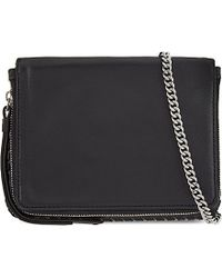 AllSaints | Black Club Mini Leather Cross-body Bag | Lyst