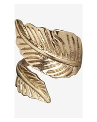Express - Metallic Metal Leaf Wrap Ring - Lyst