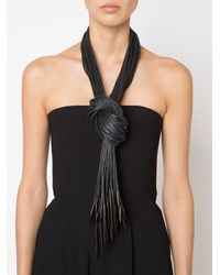 Monies | Black Multi Straps Wrap Necklace | Lyst