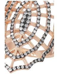 Diane Kordas - Metallic Spider Web 18karat Rose Gold Rhodiumplated Diamond Ring - Lyst