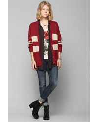 Urban Outfitters - Red Coincidence Chance Varsity Stripe Cardigan - Lyst