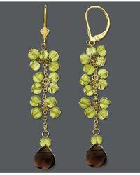 Macy's - Green 14K Gold Earrings, Peridot And Smokey Topaz Drop Earrings (10-1/3 Ct. T.W.) - Lyst