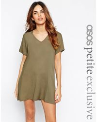 ASOS | Natural V Neck Dress With T Shirt Sleeve | Lyst