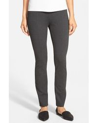 Eileen Fisher | Gray Skinny Knit Pants With Yoke Detail | Lyst