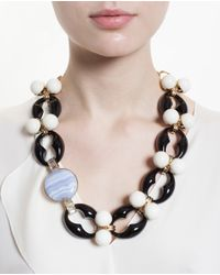 Valentina Brugnatelli - Black Gold-Tone Brass And Marbled Necklace - Lyst