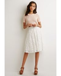 Forever 21 Lace A-line Skirt in White | Lyst