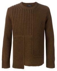 JOSEPH - Brown Asymmetric Sweater for Men - Lyst
