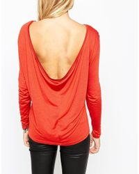 ASOS - Red The Scoop Back Top With Long Sleeves - Lyst