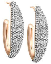 Swarovski - Pink Rose Gold-tone Large Crystal Pavé Hoop Earrings - Lyst
