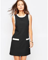 Glamorous | Black 60's Shift Dress With Contrast Trim | Lyst