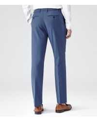 Reiss Blue Garth T Hemmed Wool Blend Trousers for men
