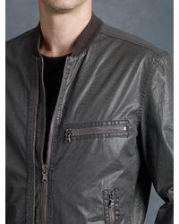 John Varvatos Gray Double Zip Bomber Jacket for men