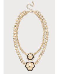 Bebe Metallic Double Lion Chain Necklace