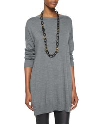 Eileen Fisher | Gray Merino Jersey Icon Tunic | Lyst