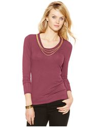Michael Kors | Purple Michael Chain-neck Long-sleeve Top | Lyst