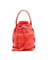 Balenciaga Red Classic Carly Leather Shoulder Bag