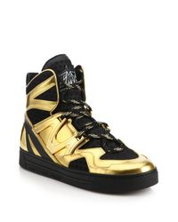Marc By Marc Jacobs | Gold Ninja Leather & Textile High-top Sneakers | Lyst