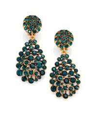 Oscar de la Renta | Green Pave Crystal Teardrop Earrings | Lyst