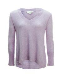 White + Warren - Purple Swing V-neck Sweater - Lyst