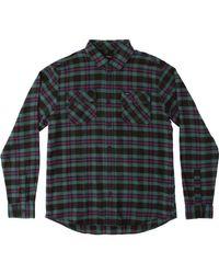 RVCA Black That'll Work Flannel Long Sleeve Shirt for men