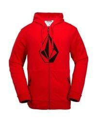 Volcom Red Jla Stone Fleece Full-zip Hoodie for men
