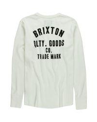 Brixton White Woodburn Thermal Long-sleeve Shirt for men