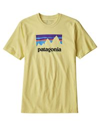 Patagonia Yellow Shop Sticker Responsibili-t-shirt for men