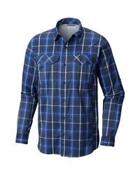 Columbia Blue Silver Ridge Lite Plaid Ls Shirt for men