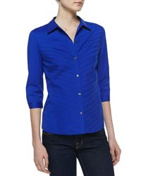Lafayette 148 New York | Blue Felicity Stretch Buttondown Blouse | Lyst