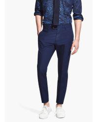 Mango Blue Suit Linen Trousers for men