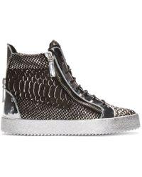 Giuseppe Zanotti - Black & Silver Croc-embossed High-top London Sneakers for Men - Lyst
