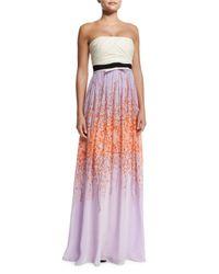 Giambattista Valli - Purple Pleated Strapless Silk Combo Gown - Lyst