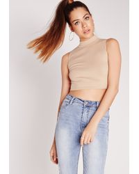 Missguided - Gray Ribbed High Neck Crop Top Taupe - Lyst