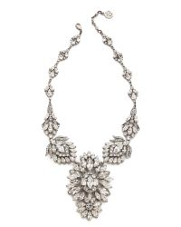 Ben-Amun Metallic Crystal Statement Necklace - Clear