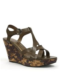 Tahari | Green Sarah Leather Sandal Wedges | Lyst