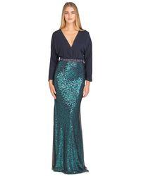 Badgley Mischka | Blue Sequin-embellished Crepe-jersey Maxi Dress | Lyst