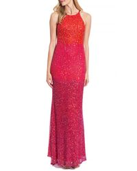Badgley Mischka   Red Ombre Beaded Evening Gown   Lyst
