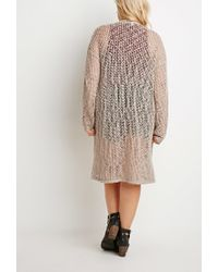 Forever 21 - Brown Plus Size Textured Open-knit Cardigan You've Been Added To The Waitlist - Lyst