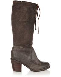 Frye Brown Camilla Distressed Leather Knee Boots