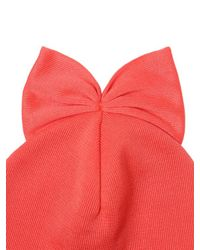Federica Moretti Pink Ribbed Cotton Beanie Hat With Bow