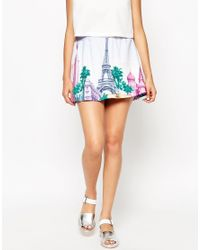 Frankie Morello Blue Kinsul Skirt In City Print